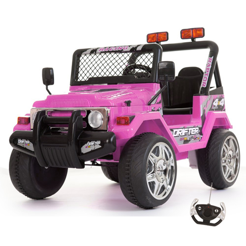 Pink 12v 2 Seater Ride On Off Road Style Jeep + Remote - Click Image to Close