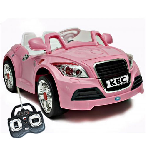 what a super cool pink audi tt style kids 6v car with mp3 and parental safety remote controls we have just caught eye of these