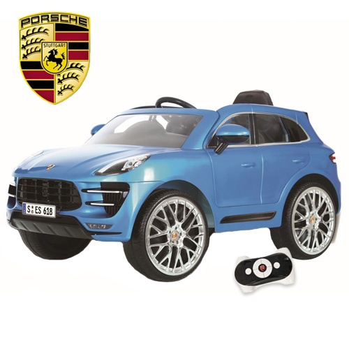 Official Porsche Macan 12v Premium Blue Kids Jeep - Click Image to Close