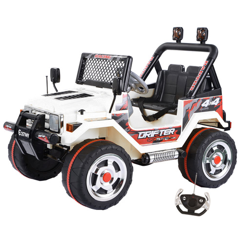 White 12v Two Seater Ride On Mega Jeep with Remote - Click Image to Close