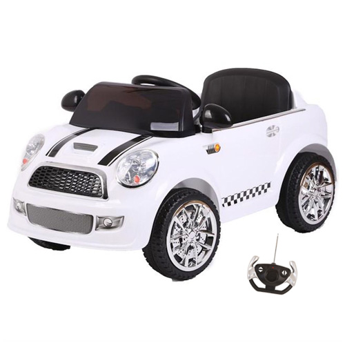 Kids 12v Compact White Mini Style Ride On Car with 2.4G Remote - Click Image to Close