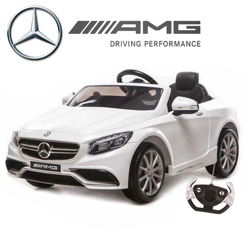 order your limited edition white licensed mercedes s63 kids 12v car this licensed 12v mercedes s63 kids ride on sports car is a stunning model from