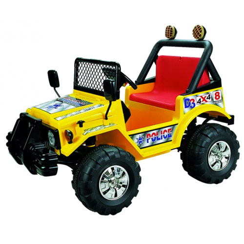 Yellow 12v Police Style 2 Seat Ride-on Jeep