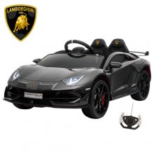 Official 12v Kids Black Lamborghini Aventador SVJ Wide Seat Car