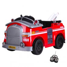 Compact 6v Kids Fire Engine Ride On Truck with Parental Remote