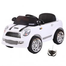 Kids 12v Compact White Mini Style Ride On Car with 2.4G Remote