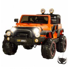 Two Seat Orange Explorer 12v Big Ride On Kids Jeep