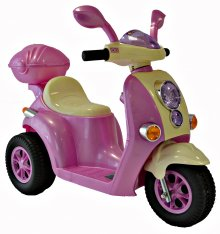 Girls Mini Mod Cute Pink 6v Ride On Moped