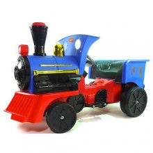 Classic Blue British Steam Engine 12v Kids Sit On Train