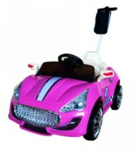 Cute Pink 12v Maserati Style Ride On Car with push bar