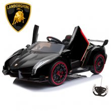 2 Seat Black Lamborghini Official 24v Kids 4WD with Remote & EVA