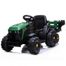 Green Kids Ride On Electric 12v Tractor Trailer and Leather Seat
