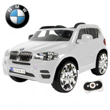 Kids White Licensed BMW X5 12v Jeep with Leather Seat