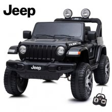 Black Licensed Wrangler Jeep 12v 4WD Kids EVA Ride On SUV