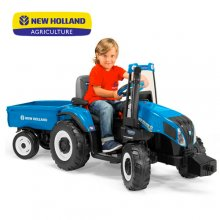 Blue New Holland T8 12v ride on Electric Tractor & Trailer