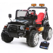 12v Two Seater Black Ride On Kids Electric Jeep