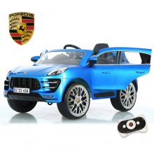 Official 6v Blue Porsche Macan Kids Premium Electric Jeep