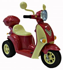 Raspberry Red Girls Mini Mod 6v Electric Moped