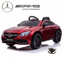 Kids Metallic Red 12v Mercedes C63 Coupe Ride On Car